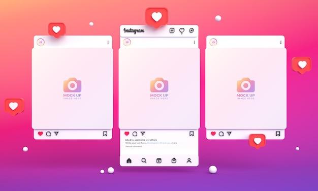 3d-instagram-post-mockup für social media mit lichtschnittstelle und mehreren instagram-feeds