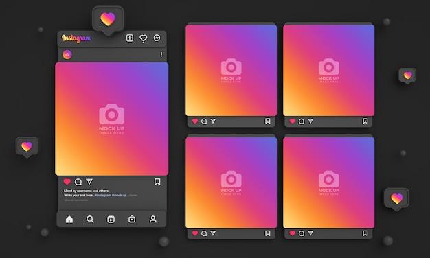 3d-instagram-post-mockup für soziale medien mit dunkler, farbenfroher oberfläche und mehreren instagram-feeds