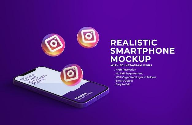 3d-instagram-symbole mit mobilem bildschirmmodell