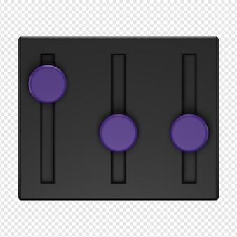 3d isolierte darstellung von sound-equalizer-symbol psd