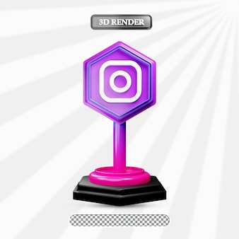 3d isolierte instagram-icon-darstellung von social media