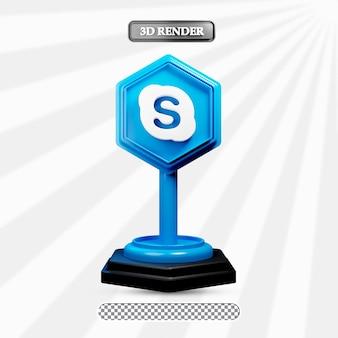 3d isolierte skype-symboldarstellung von social media