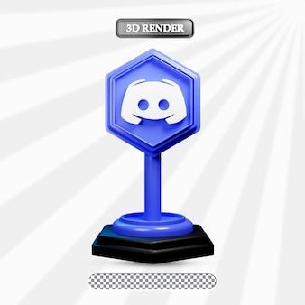 3d-isolierte zwietracht-icon-darstellung von social media