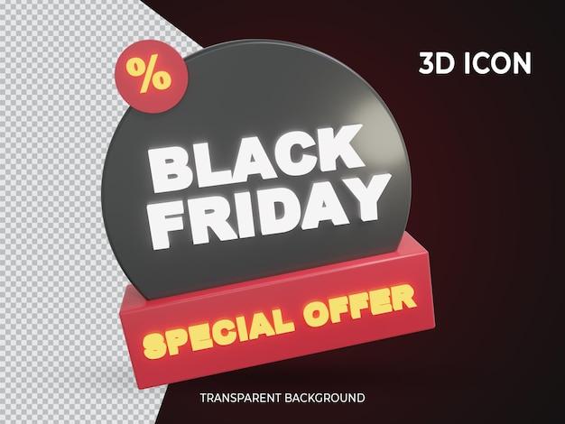 3d isolierter schwarzer freitag sonderangebot transparentes icon-design
