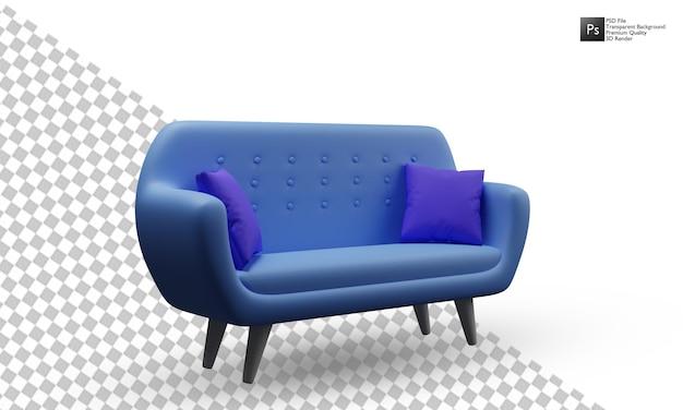 3d isoliertes blaues sofa-illustrationsdesign