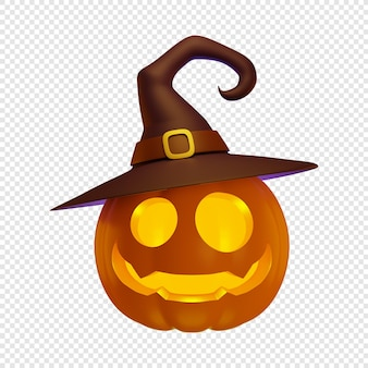 3d jacks kürbislaterne in hexenhut halloween konzept isoliert 3d-darstellung