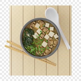 3d japanische misosuppe mit tofu shiitake wakame in einem runden teller auf einem bambusteppich draufsicht