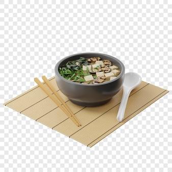 3d japanische misosuppe mit tofu shiitake wakame in einem runden teller auf einem bambusteppich isometrische ansicht