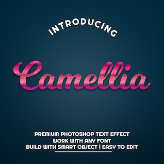 3d kamelie pink metallic text effekt premium psd
