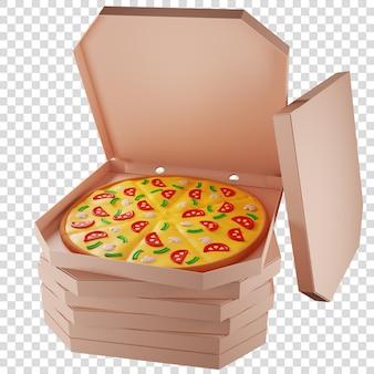 3d-kartons mit pizza viel pizza pizza lieferung isolierte darstellung 3d-rendering