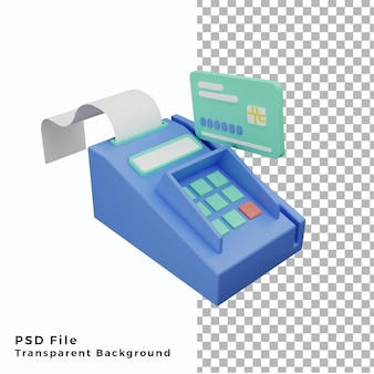 3d-kreditkarten-zahlungsterminal lllustration hohe qualität