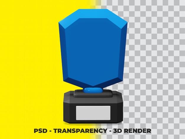 3d-kristallglas-trophäe mit transparenz-rendering-modellierung premium psd