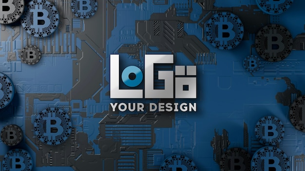 3d-kryptowährungstechnologie des logo-modells