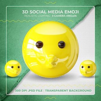 3d-kuss-emoji isoliert mit offenen augen