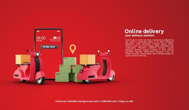 3d-landing-page-vorlage der online-lieferung mit roller-element