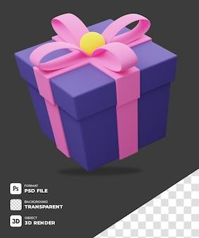 3d lila geschenkbox-symbol mit transparentem hintergrund
