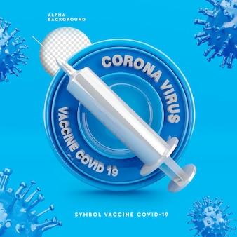 3d-logo der 3d-illustration des corona-virus-impfstoffs