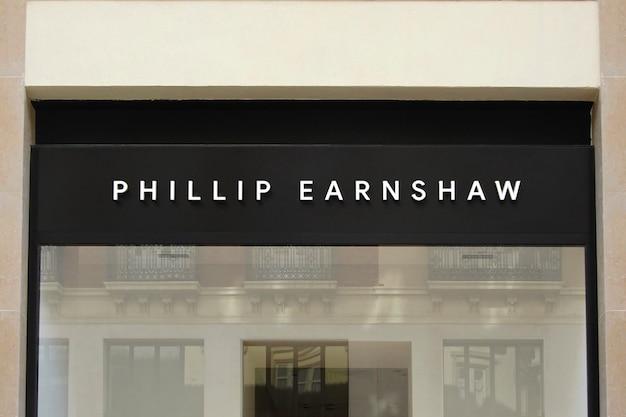 3d logo mockup black facade frontschild