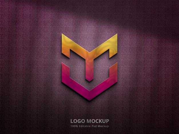 3d-logo-mockup mit farbverlauf und schattenüberlagerung