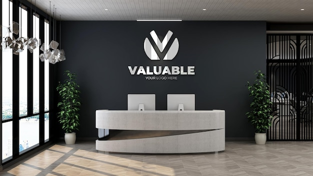 3d-logo-mockup-schild im innenbüro des hotels an der rezeption