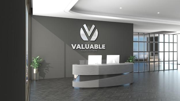 3d-logo-mockup-schild im innenbüroraum der empfangsdame