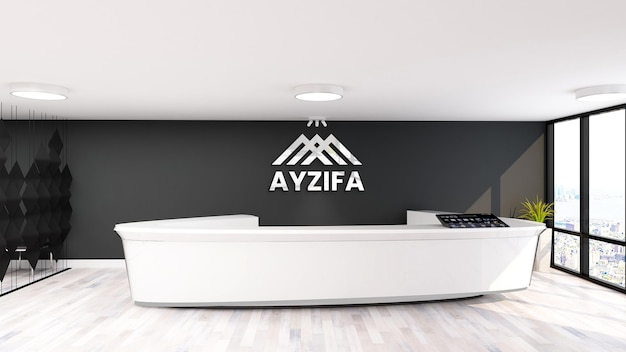 3d-logo-modell im büroraum der empfangsdame