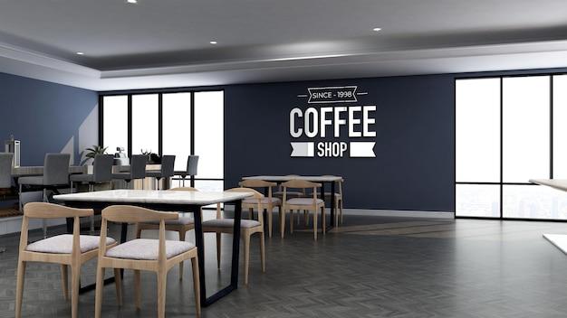 3d-logo-modell im café mit holztisch und blauer wand Premium PSD