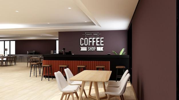 3d-logo-modell im café oder restaurant mit modernem innendesign interior