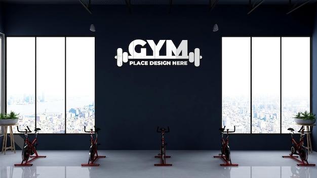 3d-logo-modell im fitness- oder fitnessraum