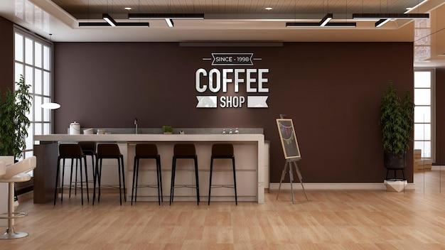 3d-logo-modell im restaurantraum des büros