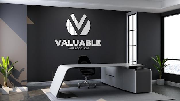 3d-logo-modell im wartezimmer der modernen bürolobby Premium PSD