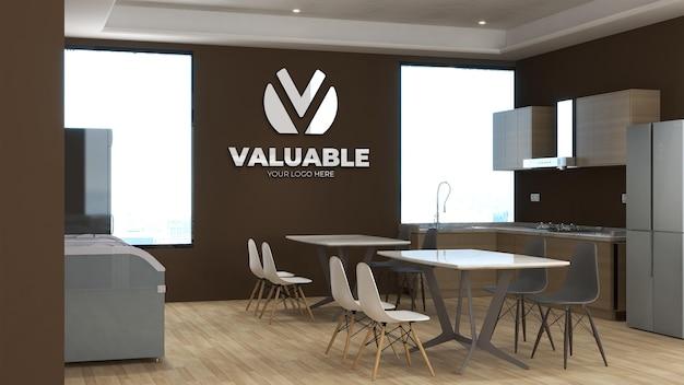 3d-logo-modell in der speisekammer des büros