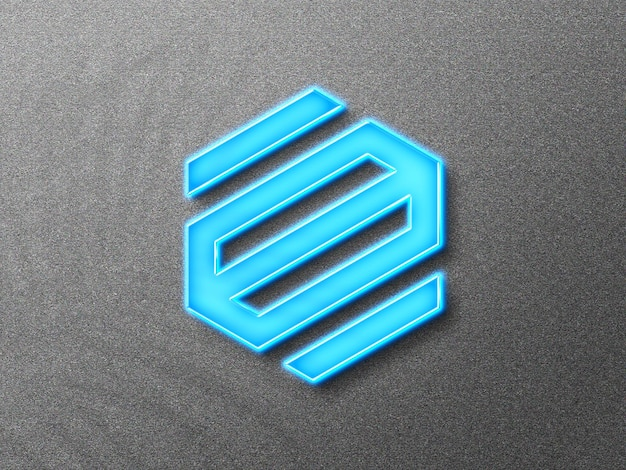 3d-logo-modell mit neon-effekt