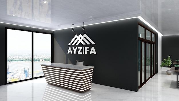 3d-logo-modellzeichen im modernen büro mit schwarzer wand