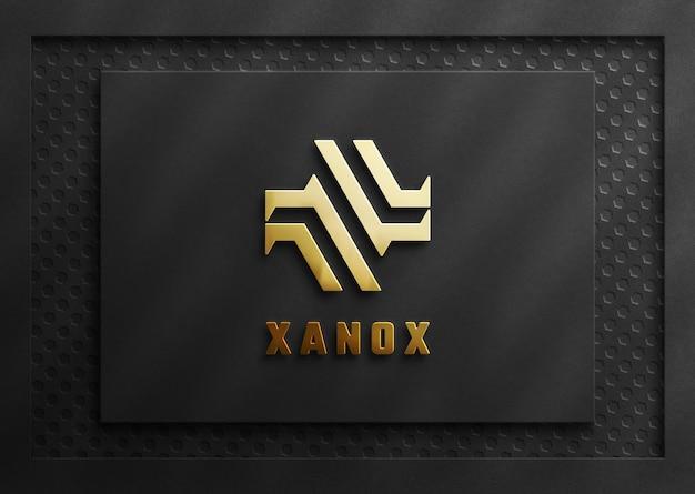 3d luxus gold logo mockup