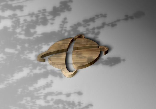 3d luxus holz logo mockup