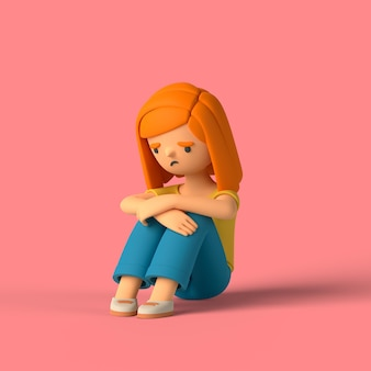 3d-mädchen-charakter sitzt auf dem boden traurig