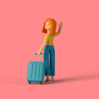 3d-mädchencharakter, der ein gepäck für das reisen hält