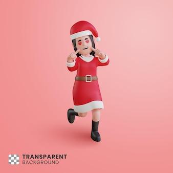 3d-mädchencharakter, der ein weihnachtsmann-kostüm mit einer süßen pose trägt