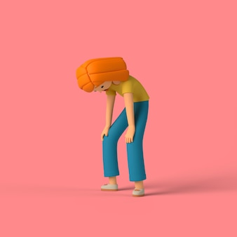 3d-mädchenfigur, die eine pause macht