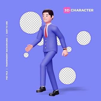3d männlicher charakter, der mit transparentem hintergrund geht