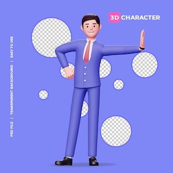 3d männlicher charakter steht über der wand pose mit transparentem hintergrund