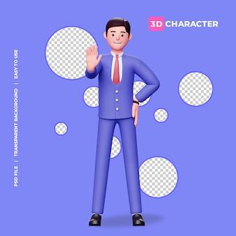 3d männlicher charakter stop pose mit transparentem hintergrund