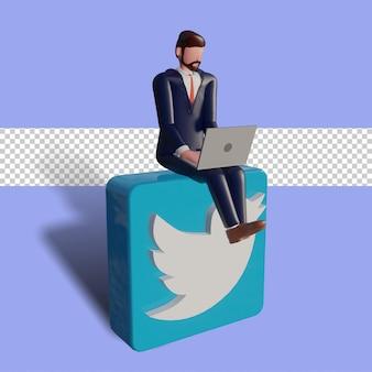 3d männlicher charakter tippt auf dem laptop und sitzt auf dem twitter-logo.