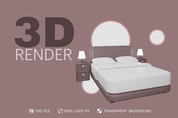 3d matratze, lampe und nachttisch mit isoliertem hintergrund