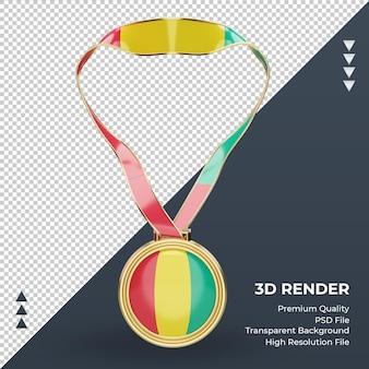 3d-medaille guinea-bissau-flagge, die vorderansicht rendert