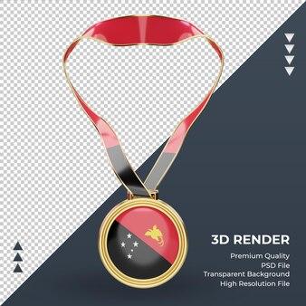 3d-medaille papua-neuguinea flagge rendering vorderansicht