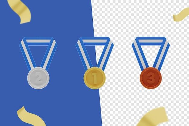 3d-medaillensymbol, gold, silber und bronze
