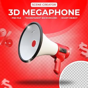 3d-megaphon für szenenersteller 3d-rendering isoliert