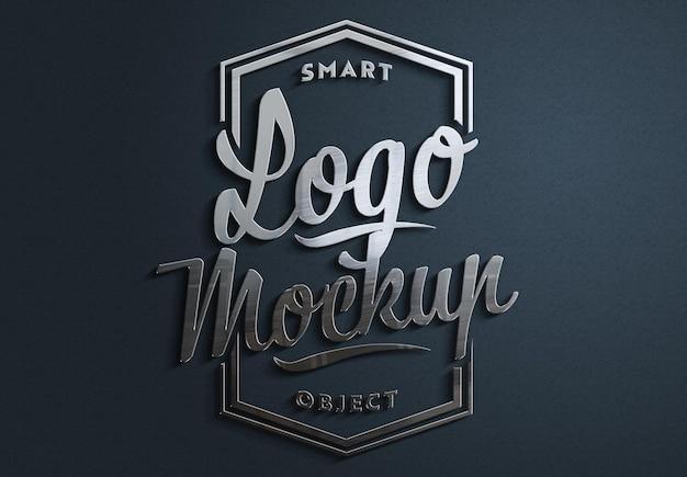3d metall gebürstetes logo mit schatten mockup